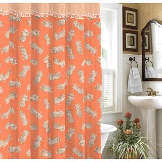 TOMMY BAHAMA TROPICAL PINEAPPLES SHOWER CURTAIN ORANGE BROWN IVORY NEW