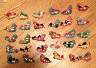 Vintage Hand Made Fabric Bird Christmas Tree Ornament Crafting Lot of