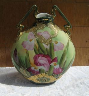 Glorious Antique ART NOUVEAU Hand Painted Japan VASE ~ IE&C I E & C