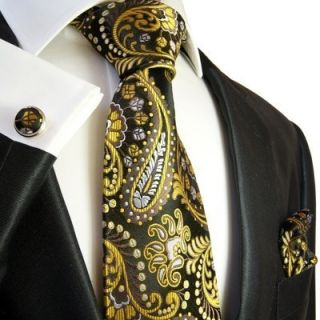 550CH/ Black and Yellow Paul Malone Necktie Set . 100% Silk . Hanky