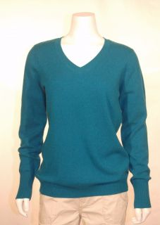 Enzo Mantovani Womens 100 Cashmere Sweater V Neck Dark Turquoise Large