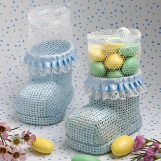 100 Blue Baby Bootie Mesh Bag Christening Baby Shower Favors