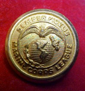 OLD STYLE EGA SEMPER FIDELIS MARINE CORPS LEAGUE BUTTON LINES ON GLOBE