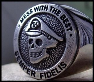 AJS © USMC Skull Ring Marine Corps Surgical Steel D23