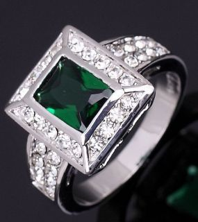 Jewelry Mans Green Emerald 10KT White Gold Filled Ring Size 10 Gift