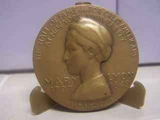 Mary Lyon Medallic Art Hall of Fame for Great Americans NYU Bronze