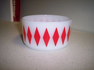 Fireking Fire King White Bowl with Red Diamonds