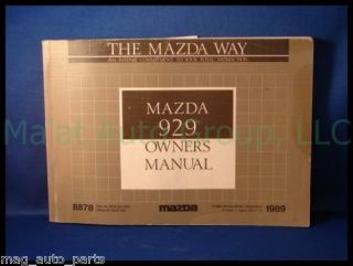 1989 Mazda 929 Owners Manual Parts Book 88 91