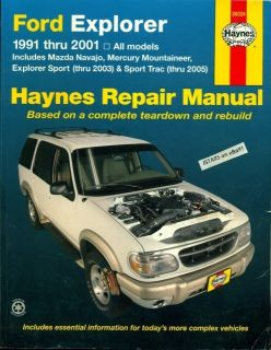 2000 2001 Ford Explorer Mazda Navajo Mountaineer Repair Manual