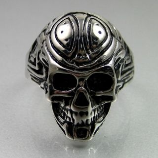 Mens Black Silver Stainless Steel Fully Tattooed Skull Ring