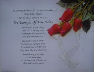 We Thought of You Today Personalized Memorial Poem in Loving Memory of