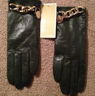 Michael Kors Green Leather Gloves Size M NWT $98