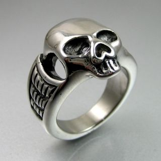 Duty Biker Mens Bold Black Silver Stainless Steel Skull Ring