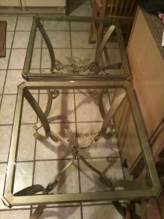 Pair of Glass and Metal Square Side Tables