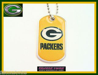 GREEN BAY PACKERS DOG FAN NECK TAG NECKLACE 24 CHAIN ENGRAVABLE CHARM