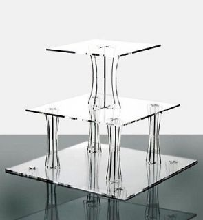 Tier Clear Square Shaped Acrylic Cup Cake Stand