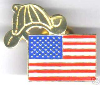AMERICAN FLAG FIRE HELMET LAPEL PIN FOR FIREFIGHTERS