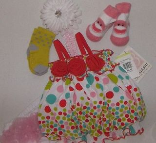 month infant baby girl dress polka dots bloomers socks headband 5