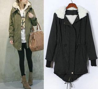 Fleece Warm Winter Coat Zip Up Hooded Parka Long Jacket Overcoat O
