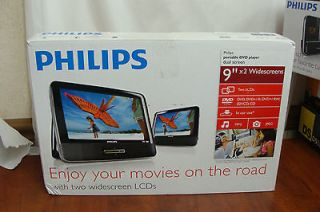 PHILIPS PD9012 PORTABLE DUAL (2) SCREEN SCREENS LCD CAR DVD PLAYER