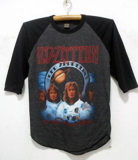 Led Zeppelin 3/4 baseball shirt rock band tour jersey charcoal 41 L