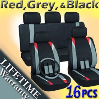 16pc Set Red Gray Black Auto Car Seat Covers + Steering Wheel Belt Pad