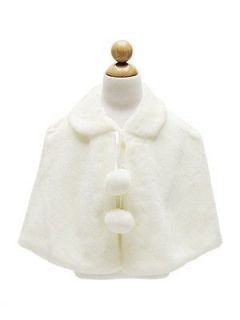 Kids /Baby GIRLS Soft Plush Faux Fur CAPE /COAT Outerwear Pageant
