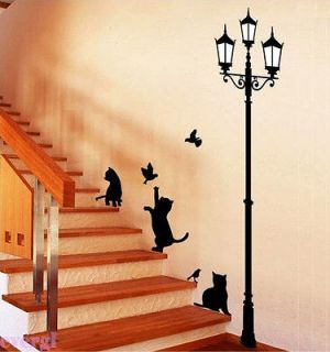 Lamp&Cat Bird Removable Wall Sticker Decal Kids Boys Girls Room Home