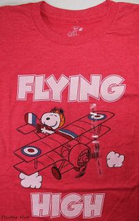 Peanuts Snoopy Flying High Ace Biplane Plane Shirt Heather Red S/M/L