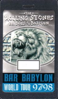 ROLLING STONES backstage pass Tour Laminate 97 babylon