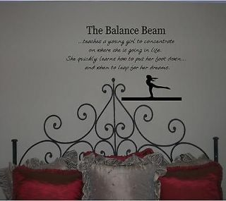 gymnastics balance beam quote  girls wall vinyl decal