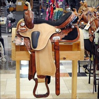 HILASON WESTERN LEATHER FLEX TREE BARREL RACING TRAIL SADDLE 16