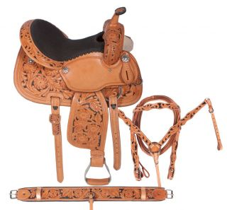 New Custom 14 15 16 Hand Carved Leather Barrel Racer Racing Horse