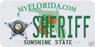 Florida Sheriff Aluminum Novelty Car License Plate