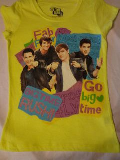 Girls BIG TIME RUSH T shirt Carlos James Kendall Logan ~ YELLOW ~ 7/8