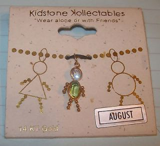 New 14kt Gold Birthstone Charm August Peridot Person Child Doll Kids