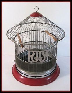 Vintage 30s Hendryx Bird Cage   Round Enameled Red Black & Chrome w