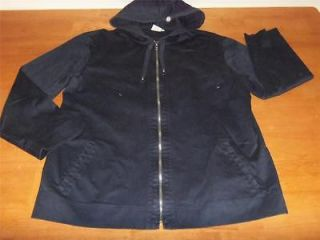 Womens GARNET HILL Navy Blue Stretch Hooded ZIP UP JACKET Coat Large