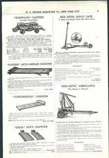 1922 ad Red Devil Auto Car Ambulance Dolly Jack Eco Motor Hoist Wright