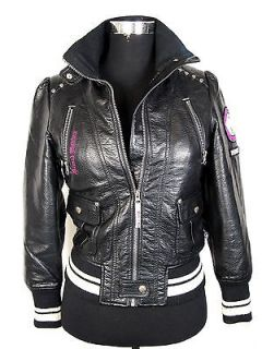 Hannah Montana Girls black Rock It casual faux leather jacket size 158