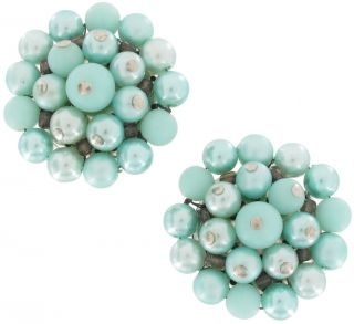 Vintage Japan Blue Green Faux Pearl Bead Button Earrings Carded