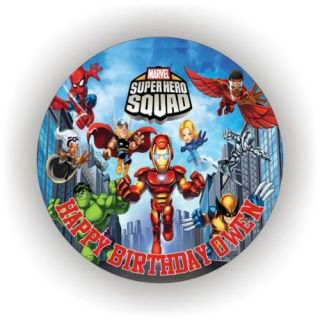 SUPER HERO SQUAD EDIBLE ICING BIRTHDAY CAKE TOPPERS