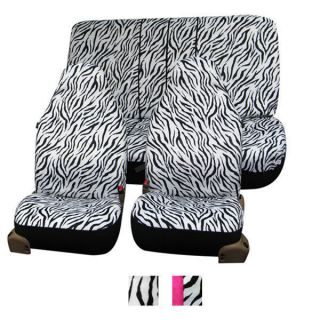 Zebra Print Seat Covers Airbag Ready W. Attached Front Headrest