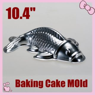 Aluminum Cake Pan Tin 3D Golden Carp Fish Mold Mould 10.4 Big Size