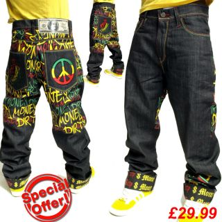 Dirty Money is ® Rasta Peace Raw Time Hip Hop Jeans Size W30   W42