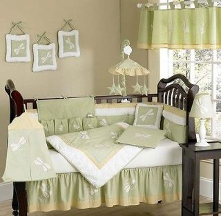 UNISEX GREEN DRAGONFLY DREAMS 9pc BABY GIRL BOY CRIB BEDDING SET ROOM
