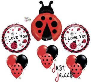 Black I Love You Birthday Baby Shower Balloon Party Set Mylar Latex