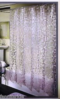 SILVER w SHIMMER & SHINE HEAVY VINYL SHOWER CURTAIN ~ 70 x 72 ~ NEW