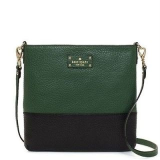 KATE SPADE GROVE COURT CORA BLACK & BOTTLE GREEN LEATHER CROSSBODY BAG