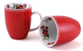 Set of 2 KATIE ALICE Scarlet Posy RED SPOT Shabby Chic PORCELAIN MUGS